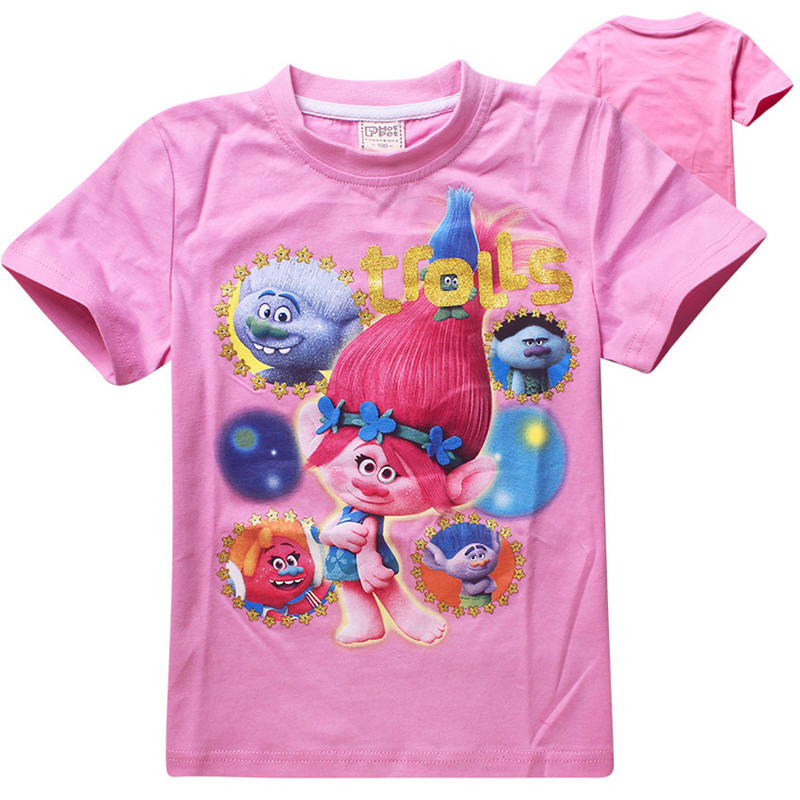 Trolls t shirt girls tops cotton children clothing 4-11 years christmas kids t-shirt girls clothes boys shirts camiseta infantil