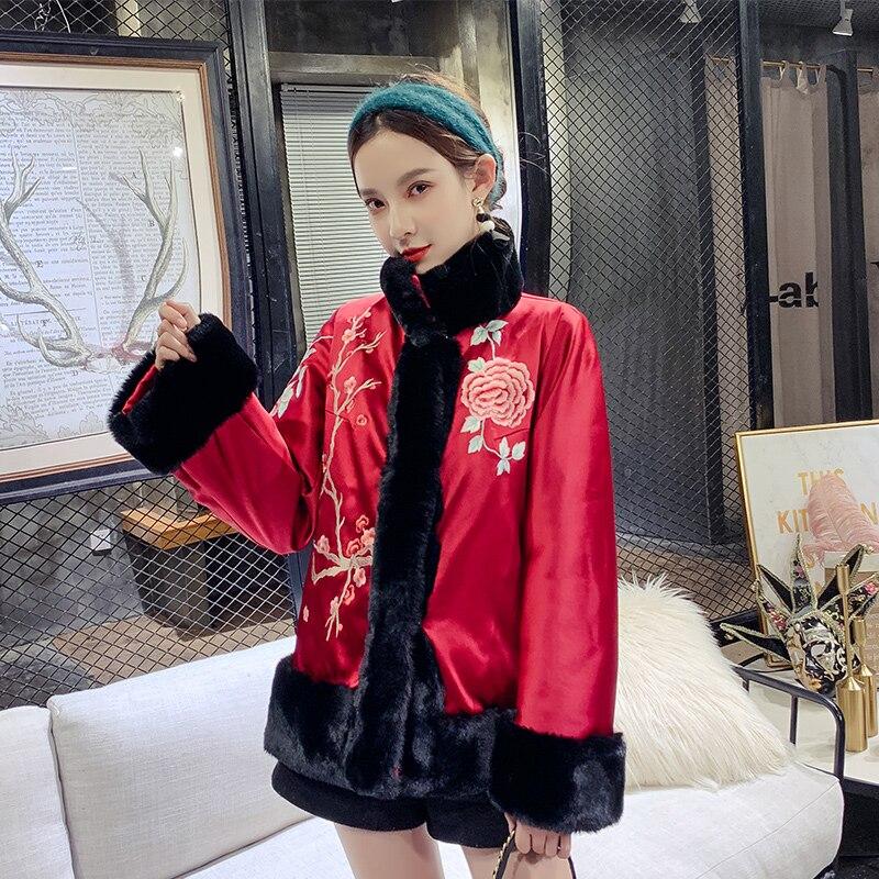 Bordeaux automne hiver veste chaude chinois classique broderie fleur manteau élégant femmes coton rembourré Ourdoor Tang vêtements