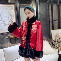 Burgundy Autumn Winter Warm Jacket Chinese Classic Embroidery Flower Coat Elegant Women Cotton padded Ourdoor Tang Clothes