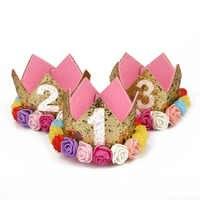 Atuendo para gran oferta de niña, primer cumpleaños, 1ª flor, corona, 2ª Tercera, bebé, rosa, blanco, Morado, sombrero de cumpleaños, accesorios para el cabello para bebé