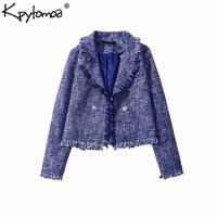 Vintage Frayed Tassel Tweed Plaid Short Blazers Coat Women 2018 Fashion Notched Collar Long Sleeve Outerwear Casual Casaco Femme