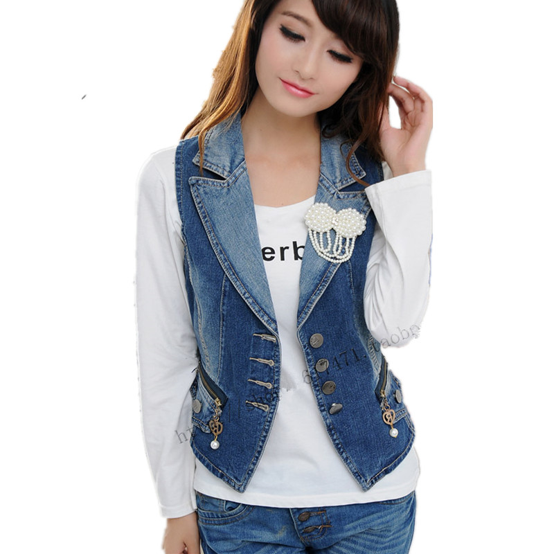 Detachable Pearl Beaded Women's Denim Vest Fashion Slim Waistcoat Vintage Zipper Button Jeans Sleeveless Jacket Veste Femme Coat