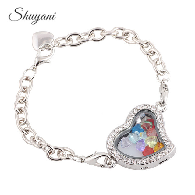 Alloy 4colors Heart Floating Locket Bracelet With Crystal Birthstone Charms Living Magnetic Gl