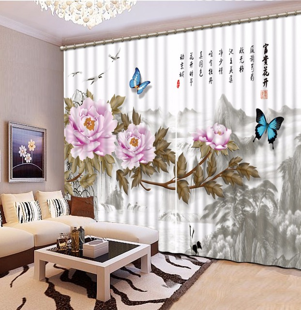 Shower Curtain In Living Room Small End Tables 3d Bed Office Hotel Cortinas Ink Landscape Flowers Bathroom