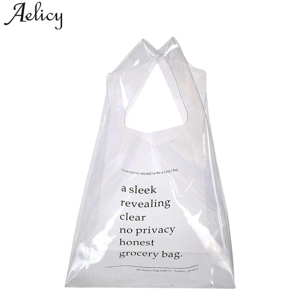 Aelicy Girls Handbags 2018 Transparent Candy Shoulder Bag Waterproof Beach Bag for Women Travel Shopping Bags bolsa feminina