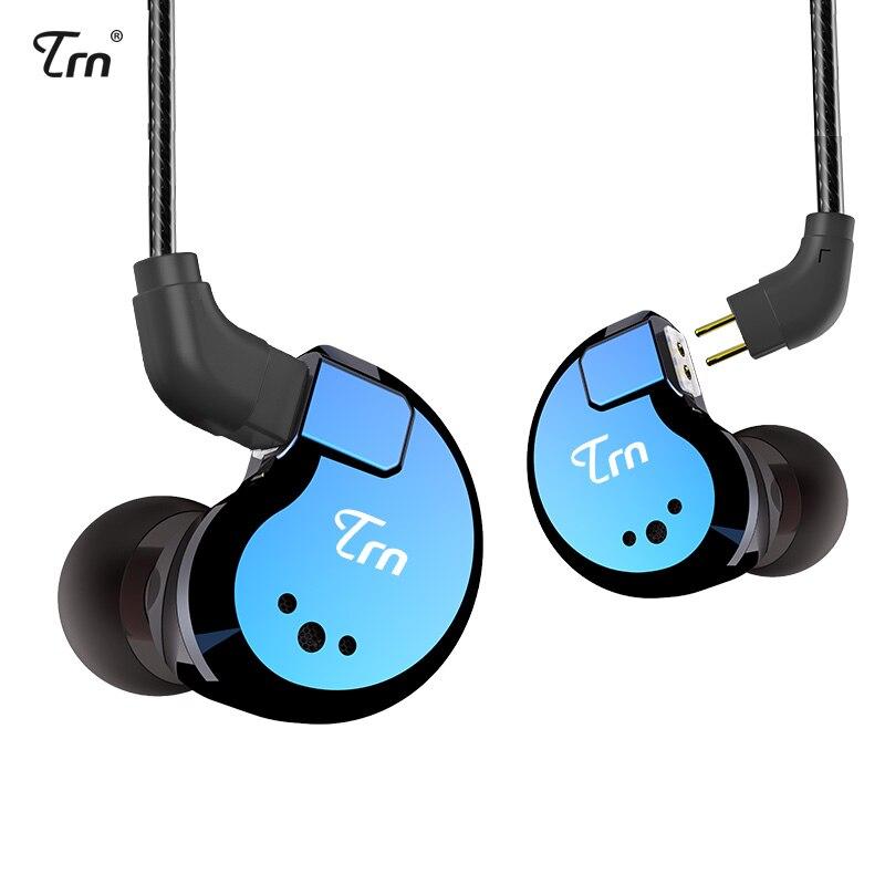 AK TRN V80 2BA + 2DD híbrido de Metal en el auricular del oído IEM HIFI DJ Monito deporte auricular auriculares 2Pin Cable desmontable
