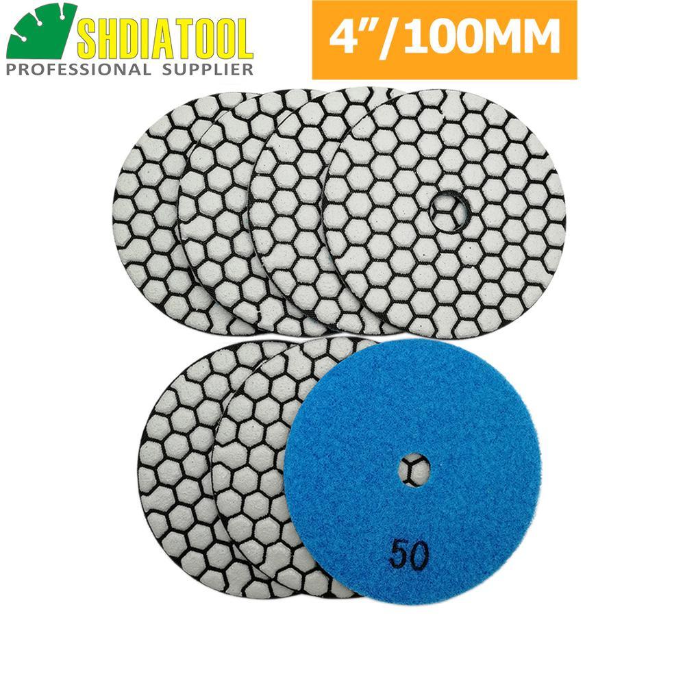 SHDIATOOL 7Pcs 4 Inch Dry Diamond Polishing Pads White Buff for Granite Marble Stone