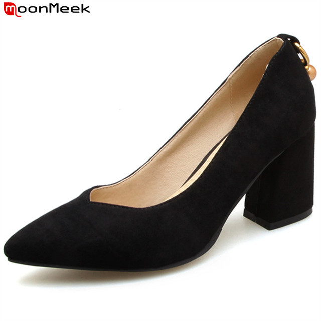 MoonMeek 2018 spring autumn sexy ladies simple sweet shallow pumps extreme square heels point toe flock woman shoes