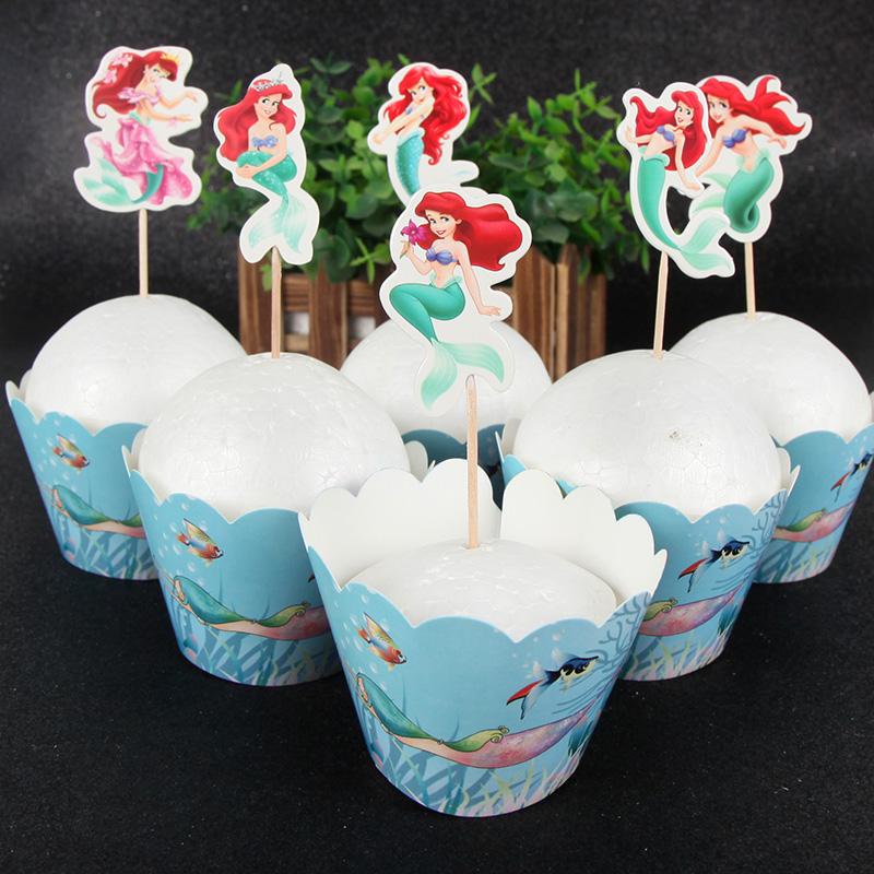 Pleasant 24Pcs Mermaid Princess Ariel Cupcake Wrappers Toppers Set Kids Funny Birthday Cards Online Drosicarndamsfinfo