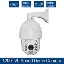 "Free shipping Speed Dome 1/3""SONY CCD 700TVL/1200TVL 36X optical zoom IR distance 150m  IR PTZ 1200TVL high speed dome"