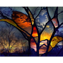 5D Diamond Mosaic Full Embroidered Beads Beautiful Sky Tree Cross Stitch Square Unfinished