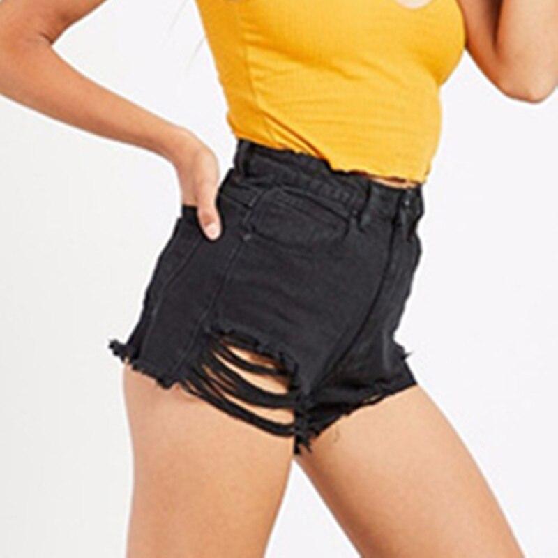 LOGAMI Jeans Short Sexy Black High-Waist Womens Irregular