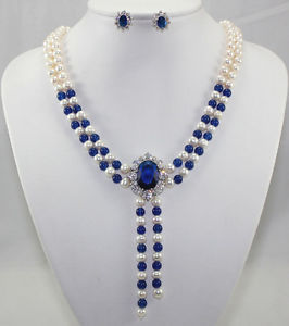 -hot2 color white pearl blue red stone necklace crystal pendant earring set