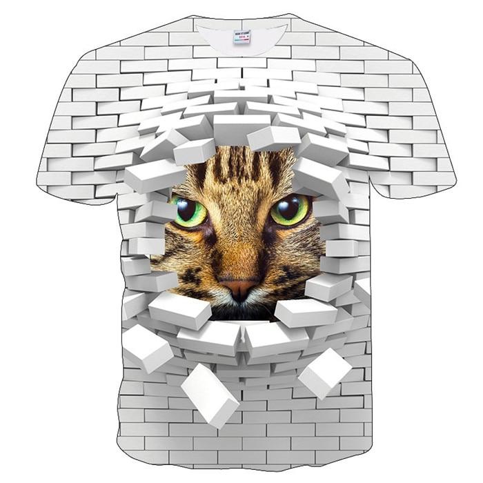 Новинка, футболка для мужчин/женщин, 3d принт, мяу, черный, белый, кот, хип-хоп, Мультяшные футболки, летние топы, футболки, модные 3d футболки, M-5XL - Цвет: txu-175