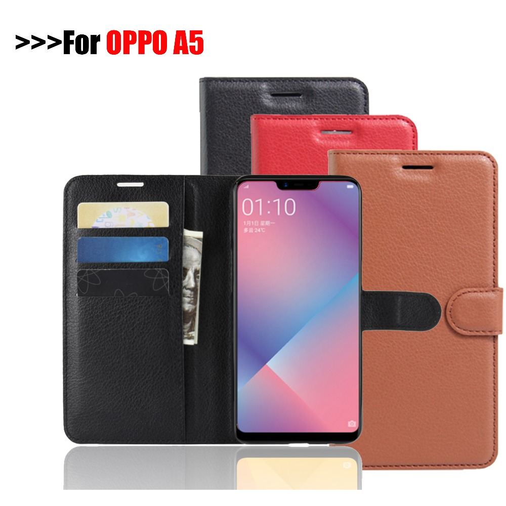 OPPO A5 Leather Case For Oppo A5 Premium Wallet Leather Flip Case For Oppo A5 A 5 6.2 Anti-fall Shell New Phone Cover