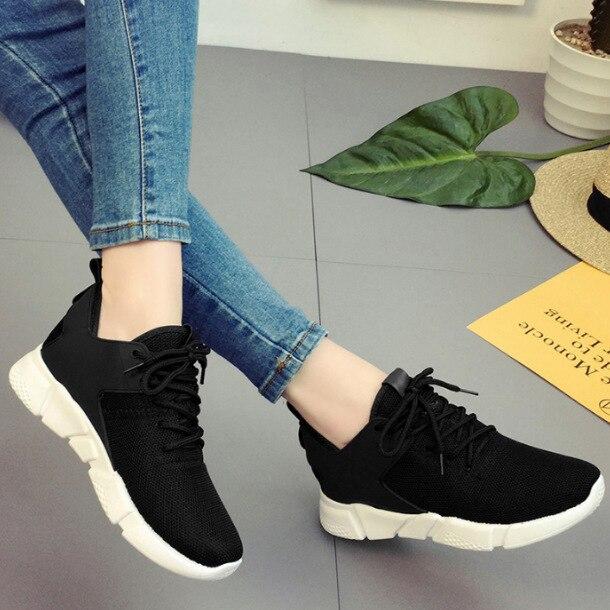 Moda Ayakkabı Kadın Eğitmenler Vulkanize Ayakkabı platform ayakkabılar Örgü Düz Siyah Ayakkabı Açık Ayakkabı Zapatos De Mujer