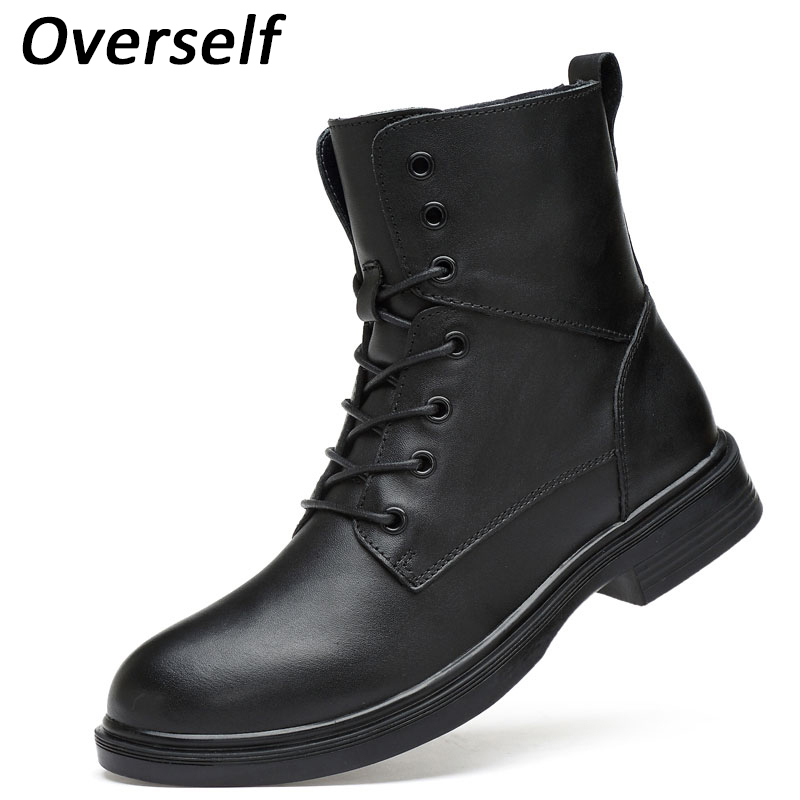 Keep Warm Men Winter Boots High Quality New Fashion Genuine Leather Men Ankle Boots Snow Warm Men's Boot Lace Up Plush Men Shoes