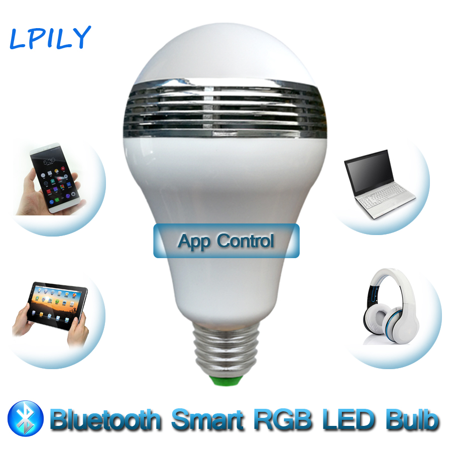 LPILY Bluetooth LED Bulb 9W RGBW Bluetooth Speaker Smart LED Light Lamp Music Speaker IOS / Android APP Control LED Bulb Lights