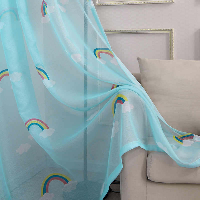 Lovely Rainbow Kids Curtains for Boys Girls Room Children Bedroom Door Window Curtain Panel Drapes Window Treatments Blue Pink