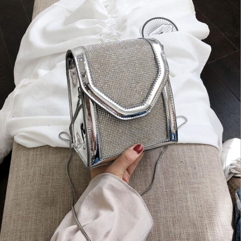 1048 Sac Per Donne Feminina Femminile Tracolla Crossbody Bag Borse Bolsa Diamanti Pelle Di 2019 Black Brillante silver Brevetto Flap In fn0C0zTa