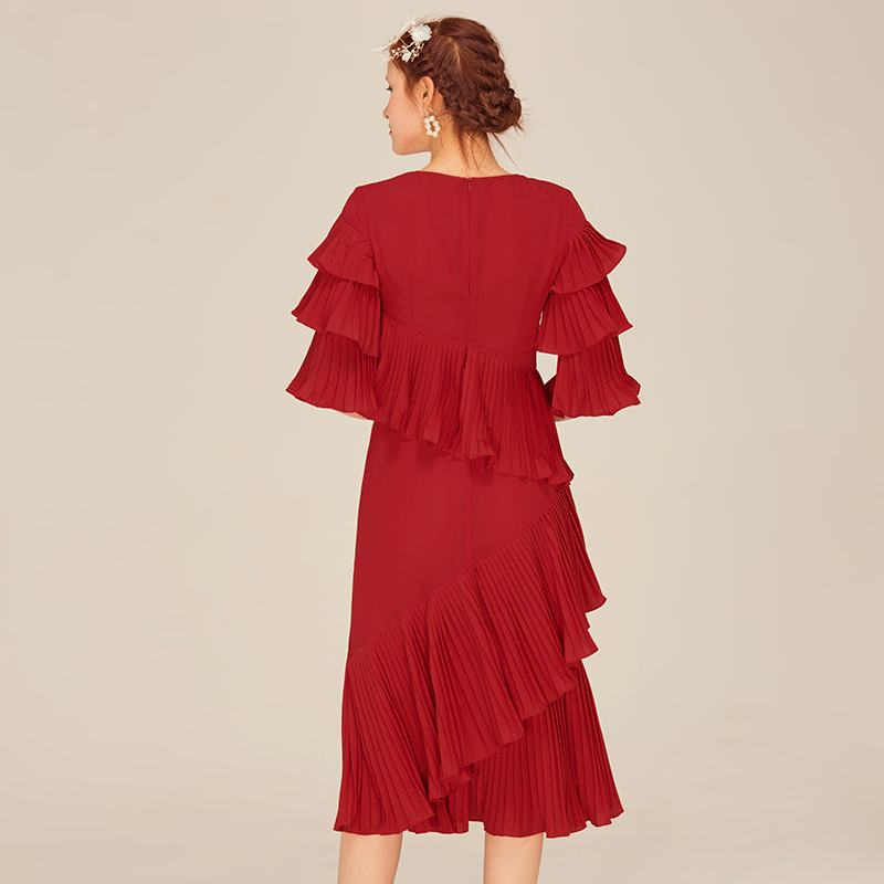 Robe Designer Soie Vintage Rouge Automne Vêtements Nouveau Mousseline De Mode Femmes Ukraine Plissée Parti Dames Ruches 2017 Robes Longue t4tqAn