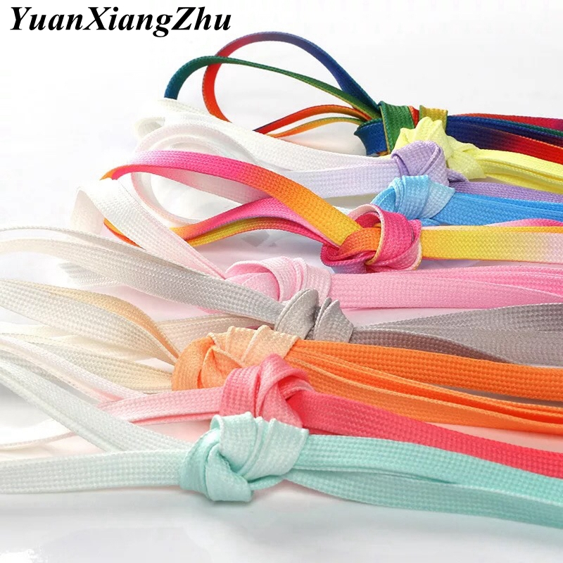 1Pair Colorful Silk Shoelaces Candy Gradient Party Camping Boots Shoelace Canvas Strings Camping Shoes Lace Growing Rainbow BC-2