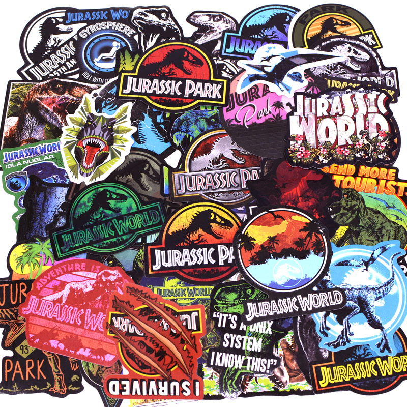 75pcs/pack Jurassic Park Dinosaur Stickers Kids Toy Graffiti Sticker For Luggage Laptop Skateboard Moto Car Waterproof Sticker