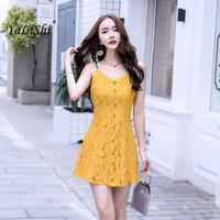 Women Solid A line Dress Summer Yellow Spaghetti Strap Sleeveless V neck Lace Mini Dress Casual Club Beach Party Ladies Dresses