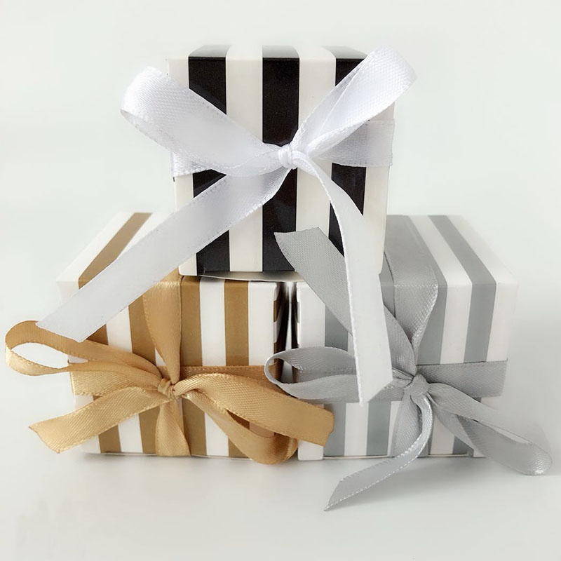 20/50pcs Gold Silver Striped Gift Box Packaging Jewelry Gift Box Wedding Favours Candy Box Festive & Party Supplies