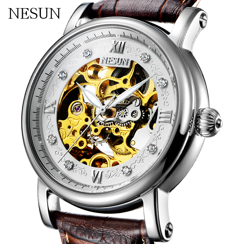 NESUN Men Luxury Top Brand Fashion Self-Wind Waterproof Hollow Automatic Mechanical Wristwatches Clock Male Relogio Masculino все цены