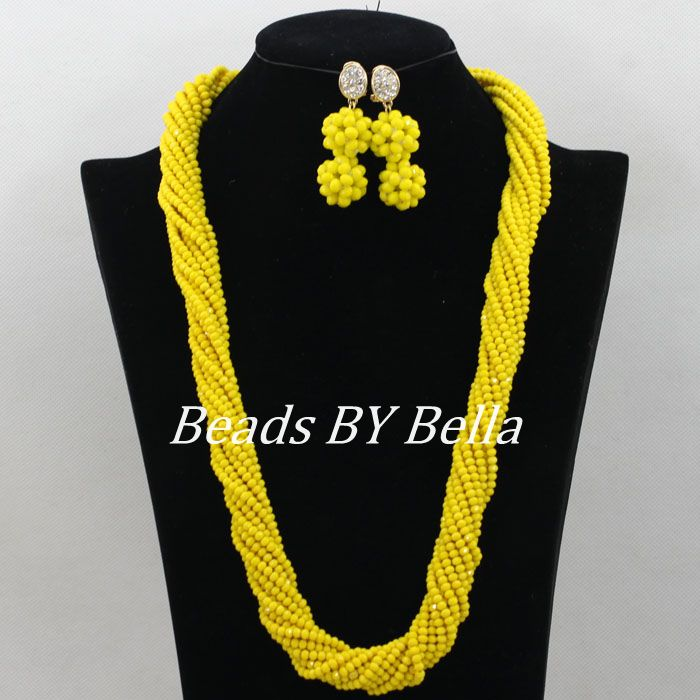 New Arrival Yellow Beads Bridal Jewelry Sets Nigerian Wedding African Jewelry Set Crystal Long Necklace Free Shipping ABF140