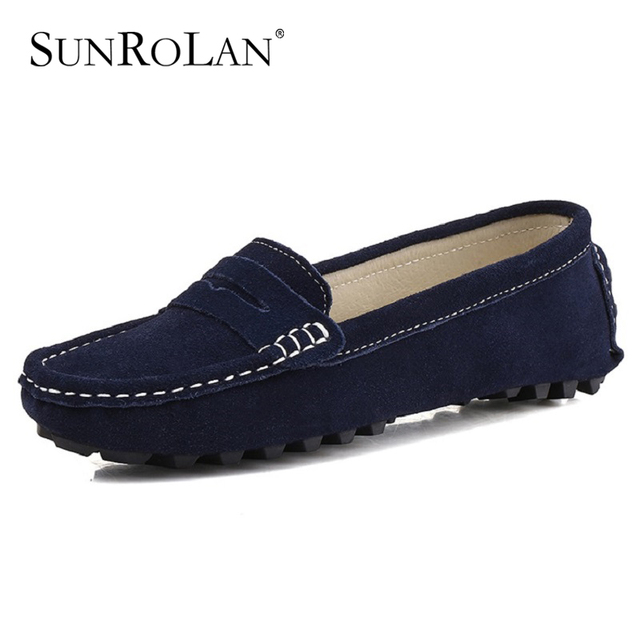 a34f8e12 SUNROLAN Women Slip On Loafers Suede Leather Casual Flat Heel Shoes Comfort Footwear  Ladies Driving Moccasins Spring Shoes 808