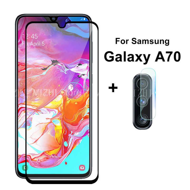 מסך מגן עבור סמסונג גלקסי A70 A50 A30 2 ב 1 מזג זכוכית עבור סמסון A10 a20 A7 8 מצלמה עדשת גלאס pretective סרט