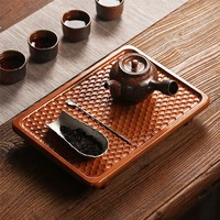 2018 Bamboo Tea Tray Wooden Tray Kung Fu Puer Tea Sets Table Tools Kitchen Water Storage Organizer Home Decoration Accessories