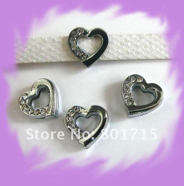 5pcs Hot sale half rhinestone heart slide Charms DIY Accessories Internal  Dia 8mm fit 8mm belt 7dcb26247a59