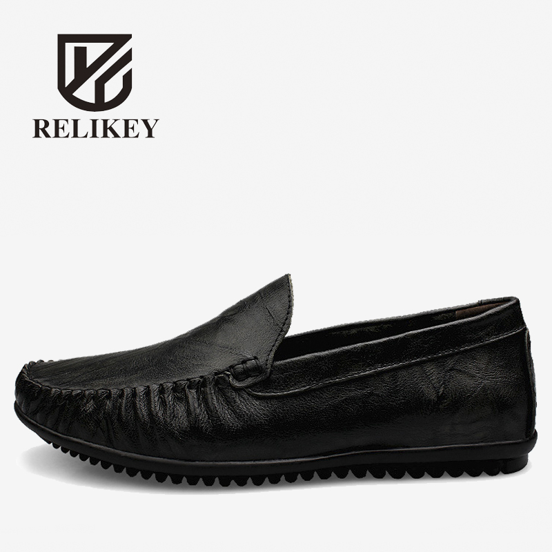 RELIKEY Brand Men Loafers Handmade Genuine Leather Male Driving Shoes Casual High Quality Sewing Soft Moccasins for Men men s genuine leather casual shoes handmade loafers for male men waterproof flat driving shoes flats