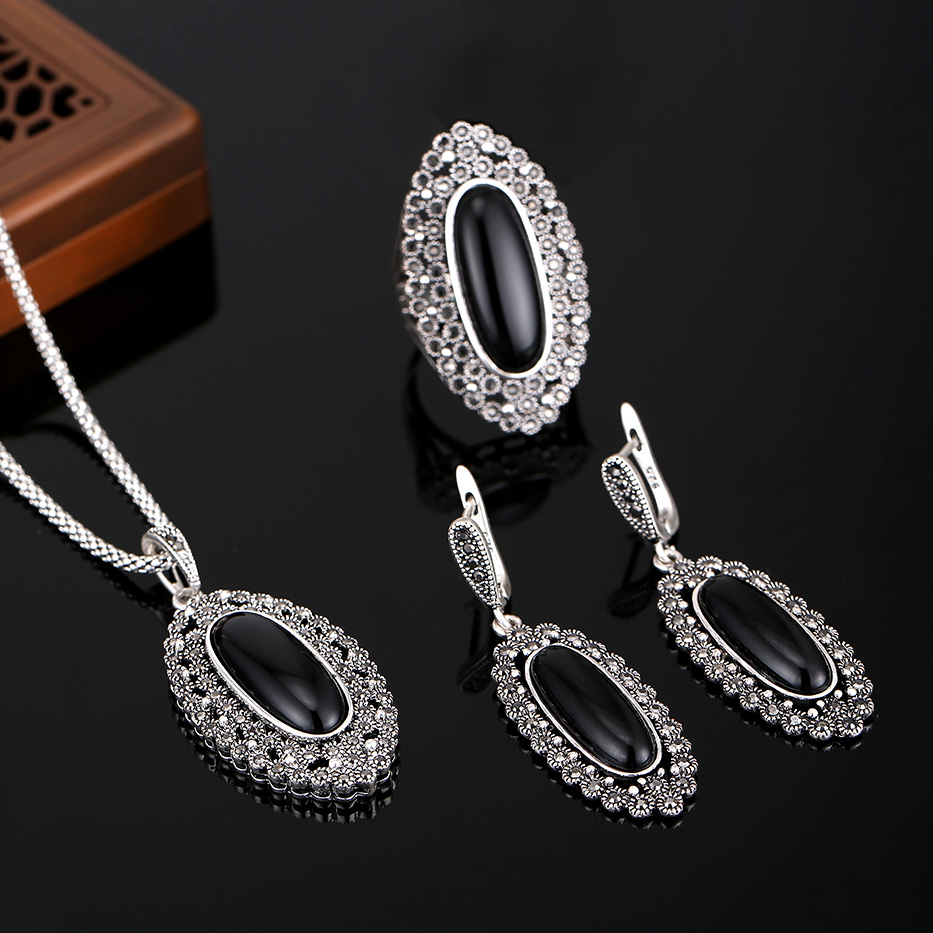 HENSEN Hight Quality Vintage Silver Plated Jewellery Rhinestone And Black Resin Jewelry Sets