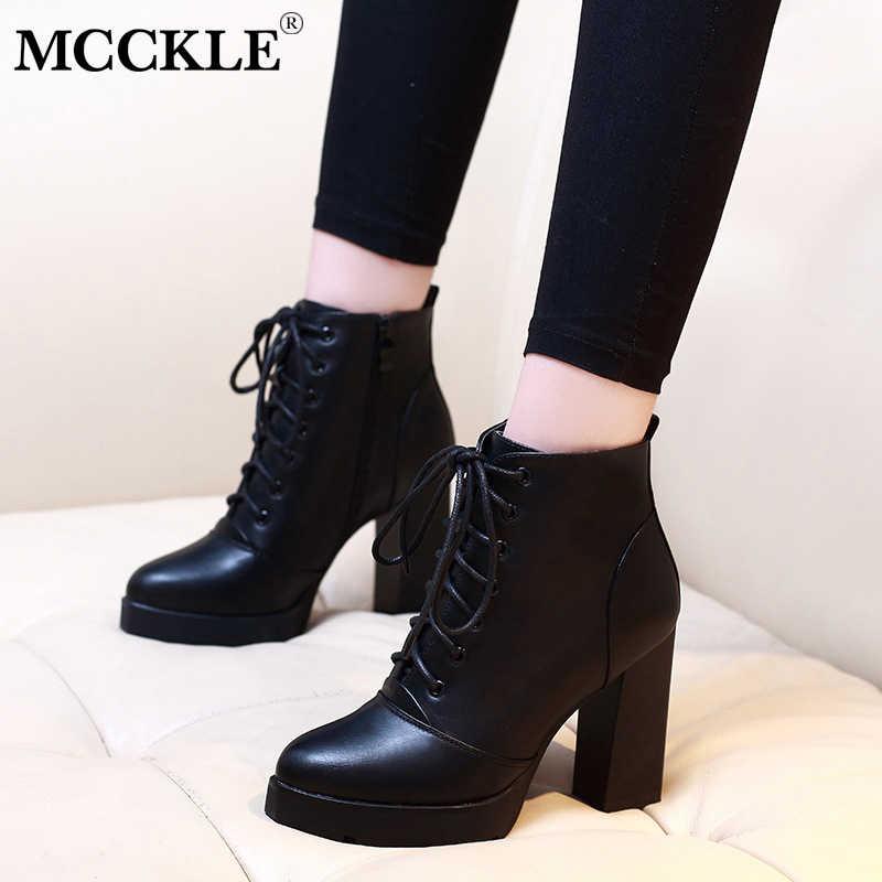 a62059e1f MCCKLE/модные женские ботильоны на платформе с блочным каблуком женская  обувь на высоком каблуке со