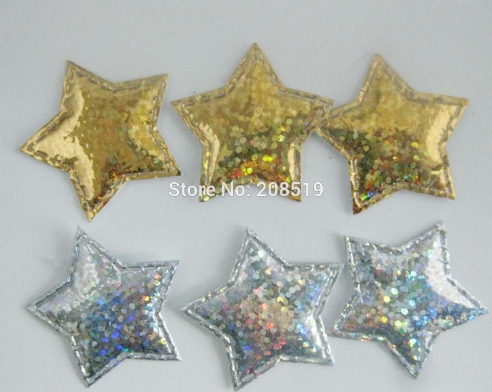 PA0050 микс 100 шт 3 см диско мерцание на золоте и серебряном войлоке звезды аппликации Декоративные ремесло и скрапбукинг материал - Цвет: mix gold and silver