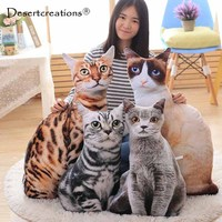 New Cute 3D Cat Cushion Pillow PP Cotton Family Affection Sofa Car Seat Lovely Pets Cats