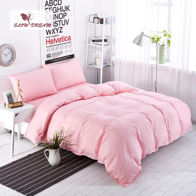 SlowDream Light luxury Bedding Set Solid Pink Duvet Cover Set Soft Polyester Flat Sheet Bedclothes Home Textiles Multi Sizes