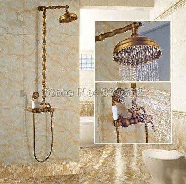 Retro Rain Shower Faucet Set Bathroom Hand Shower Mixer Taps Antique Brass  Finish With 8 Inch