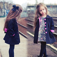 Spring Autumn Kids Girls Jackets Fashion Clothes Pink Buckle Cute Polka Dot European Girls Coats And