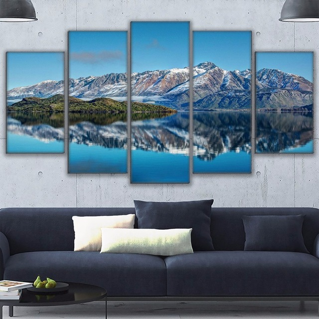 Canvas Prints Poster Wall Art Frame Home Decor 5 Piece Queenstown Mountains Painting New Zealand Pyramid