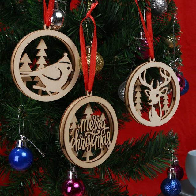 woodenr hollow christmas bulb pendant motif carve ornaments home party christmas decorations xmas tree ornaments kids