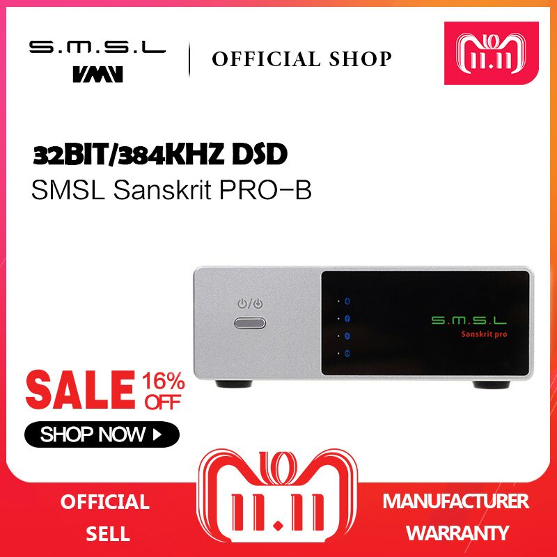 SMSL Sanskrit PRO-B Bluetooth DAC Digital to Analog Converter Support 32bit/384KHz DSD512 Decoding USB/Optical/Coaxial Input musiland 01us mark2 usb hifi external sound card hardware decoding dsd support 32bit 384khz