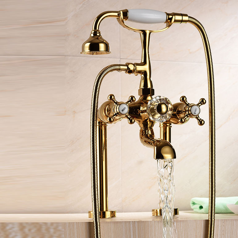 Luxury gold solid Brass Bathroom Bath Hand Held Shower Head Kit Deck ...