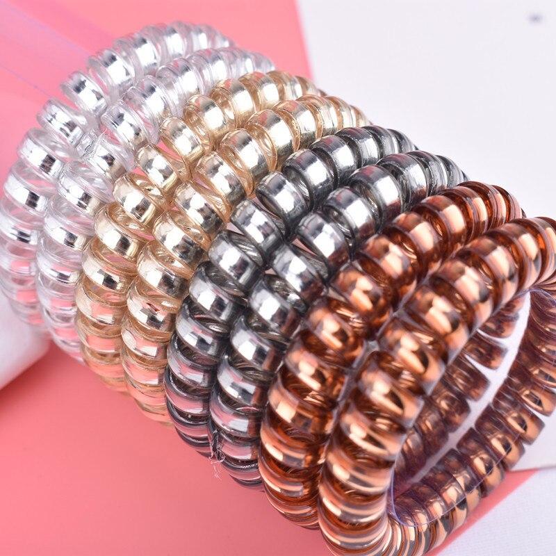 Arherigele 5pcs/lot Plastic Women Rubber Hair Rope Elastic Hair Bands Spiral Shape Hair Ties   Headwear   Accessories Telephone Wire