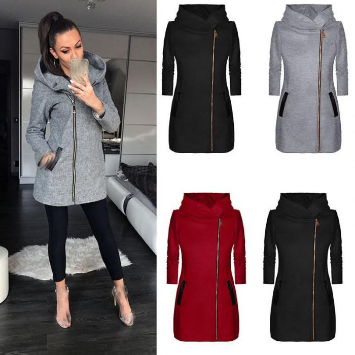 Autumn Women Hooded Long Sleeve   Basic     Jacket   Pocket Zipper Warm   Jacket   Casual Clothing Overcoat Outwear