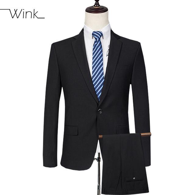 (Jaqueta + Calça) Formal dos homens Ternos Com Calças Ternos de Casamento Slim Fit Ternos Blazer de Lã Ternos Masculino Clássico Preto E554